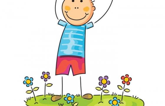 彩色正在草地上的卡通线条小人手绘男孩儿童画图片免抠矢量素材
