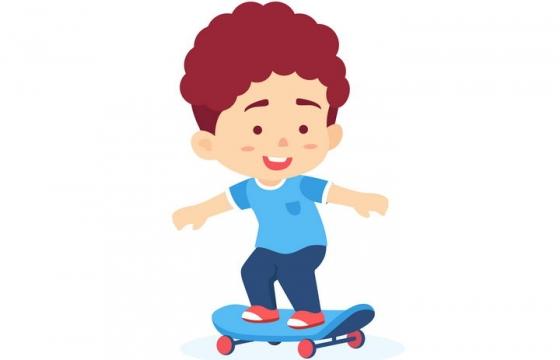 玩滑板的卡通小男孩png图片免抠矢量素材