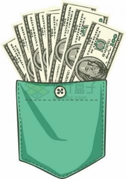 绿色裤兜袋子中的1美元钞票纸币png图片素材