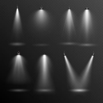 七款白色的舞台灯光效果图片免抠素材