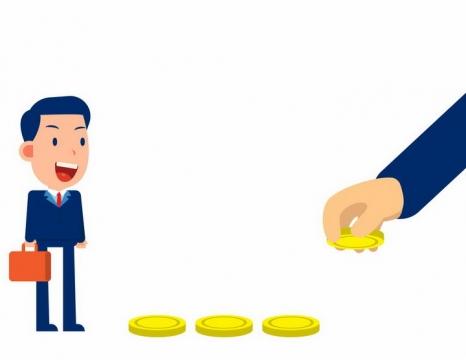 卡通商务男士被金钱吸引象征投资的风险性盲目性和短视性png图片免抠矢量素材