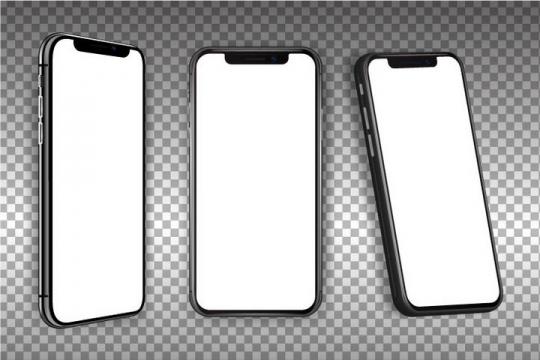 三个不同角度的全面屏智能手机样机图片免抠矢量素材