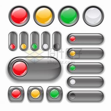 各种银灰色水晶按钮png图片素材