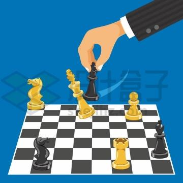 正在下棋的国际象棋棋手png图片免抠矢量素材