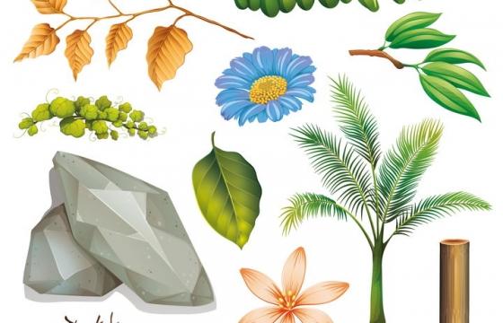 各种绿色和枯黄的树叶石头花卉图片免抠矢量图素材