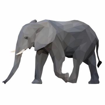 多边形组成的非洲大象png图片免抠矢量素材