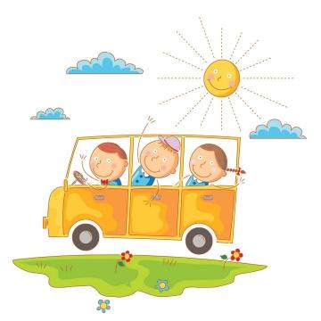 彩色太阳下坐在汽车上的卡通线条小人孩子们儿童画图片免抠矢量素材