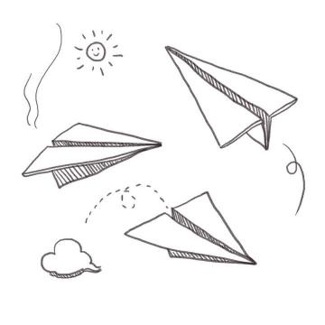 手绘线条素描风格纸飞机简笔画图片免抠素材