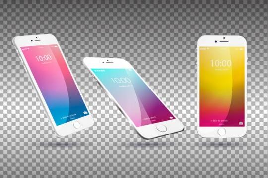 三个不同角度的白色iPhone样机图片免抠矢量素材