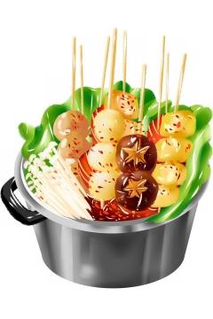 铁锅中的美味麻辣烫串串香png图片免抠素材