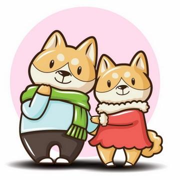 卡通风格柴犬狗狗情侣免抠png图片矢量图素材