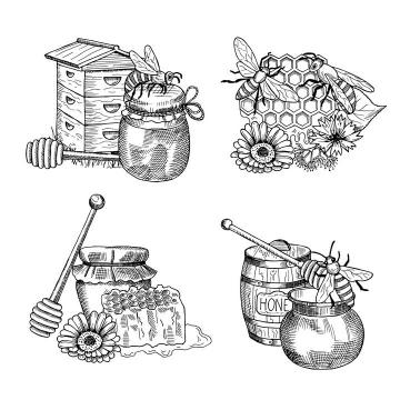 4款黑色素描风格的蜂蜜蜂巢蜜蜂蜂巢蜜免抠矢量图片素材