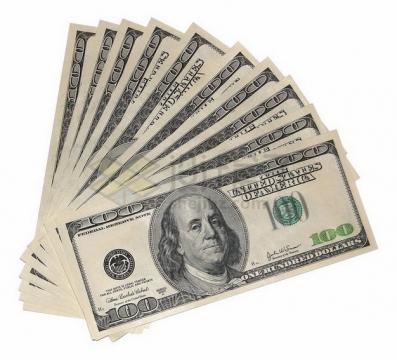 扇形散开的10张100美元钞票纸币png图片素材