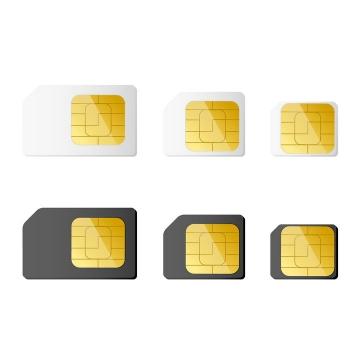 6款各类SIM卡Mini SIM卡Micro SIM卡Nano SIM卡等手机卡图片免抠矢量素材