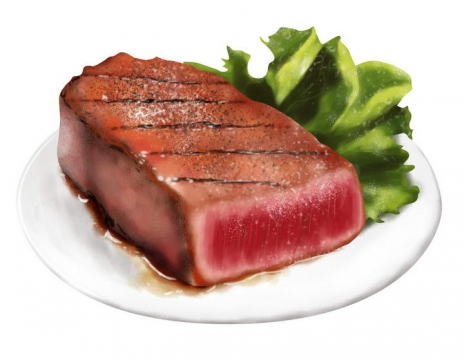 手绘风格切开的牛排和生菜西餐美食图片免抠素材