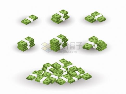 逐渐变多的绿色美元钞票png图片免抠矢量素材