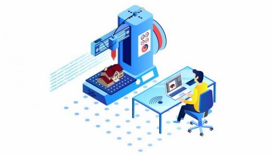 2.5D风格正在电脑面前操作3D打印机的工作人员png图片免抠eps矢量素材