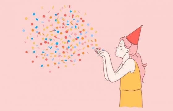 手绘插画生日正在吹彩色碎纸的女孩图片免抠素材