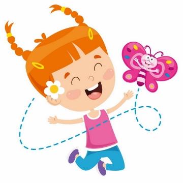 高兴得跳起来的卡通小女孩和卡通蝴蝶png图片免抠矢量素材