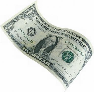 卷曲的1美元钞票纸币png图片素材