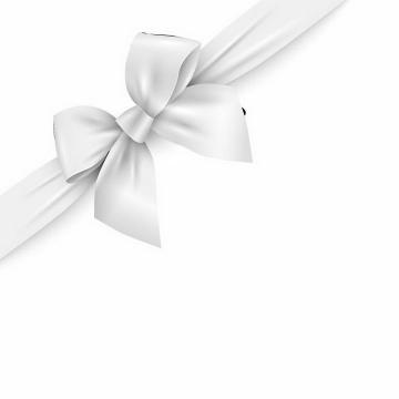 逼真的白色蝴蝶结对角装饰物免抠png图片矢量图素材