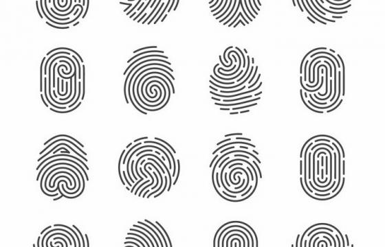 16款各式各样形状的指纹图案png图片免抠eps矢量素材