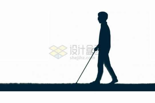 走在草地上的盲人png图片素材