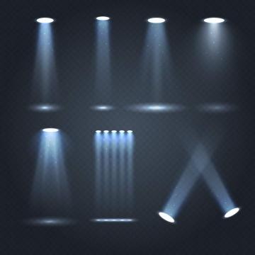 七款淡蓝色的舞台灯光效果图片免抠素材