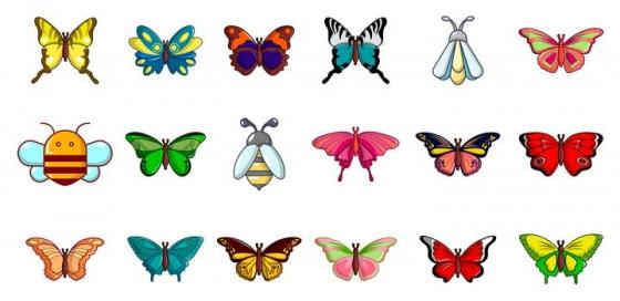 18款彩色卡通风格蜜蜂蝴蝶等昆虫免抠矢量图片素材