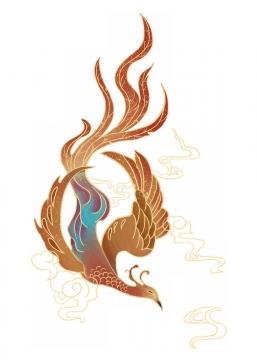 中国画风格深红色凤凰和金色祥云图案png图片免抠素材