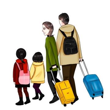 手绘插画风格一家四口拖着行李箱旅行图片免抠素材