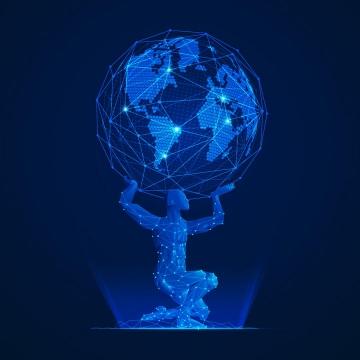 蓝色点和线条组成的男人托起地球png图片免抠矢量素材
