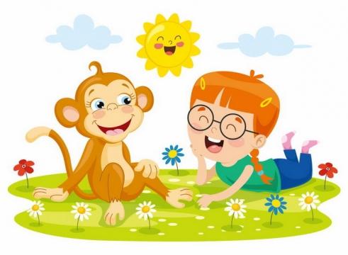 趴在草地上的卡通猴子和小女孩png图片免抠矢量素材