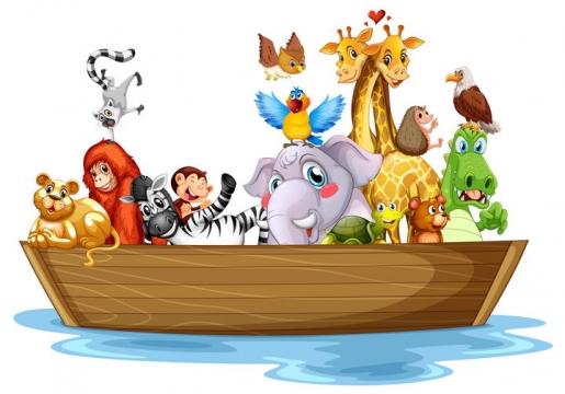 卡通动物过河各种动物坐船图片免抠矢量素材