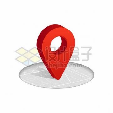 圆形地图和红色的3D立体定位标志904708png图片素材