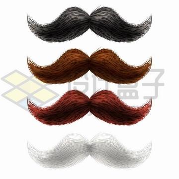 4种颜色的手绘胡须胡子png图片免抠矢量素材