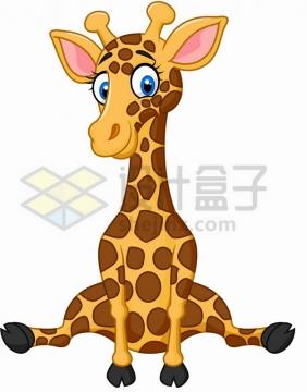 劈叉的卡通长颈鹿png图片素材