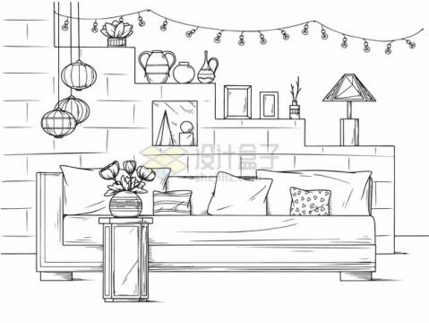 沙发后面各种装饰品的客厅手绘素描插画png图片素材