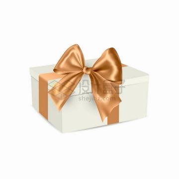 金色蝴蝶结和白色的礼品盒png图片免抠矢量素材