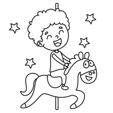 卡通风格骑旋转木马的小男孩简笔画免抠矢量图片素材