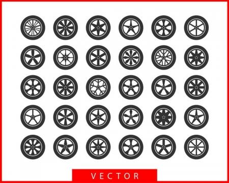 30款黑色的汽车轮胎和不同形状的轮毂图案png图片免抠矢量素材