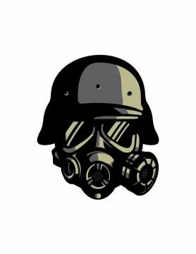 漫画风格头盔和防毒面具png图片免抠矢量素材
