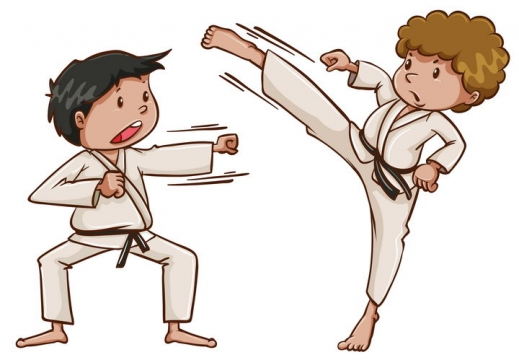 正在练跆拳道武术的卡通男孩图片免抠矢量素材