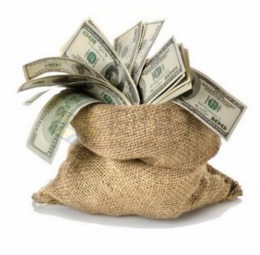 麻袋中满满的100美元钞票纸币png图片素材