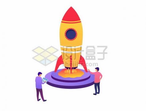 控制卡通火箭起飞的科学家302320png图片素材