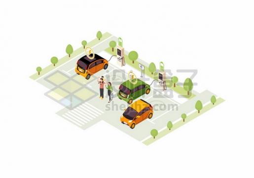 在停车场充电桩前充电的电动汽车280644png图片素材