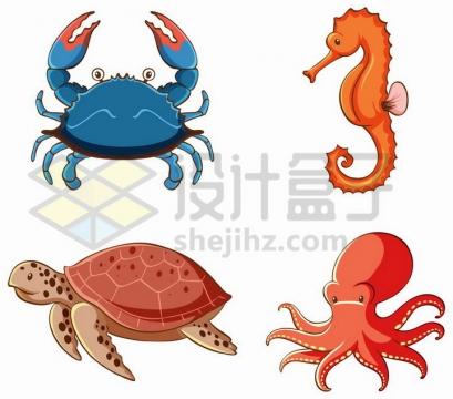 卡通蓝色的螃蟹海马海龟和章鱼等海洋生物png图片免抠矢量素材