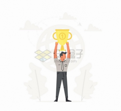 高举金杯奖杯的商务人士销售冠军扁平插画png图片免抠矢量素材
