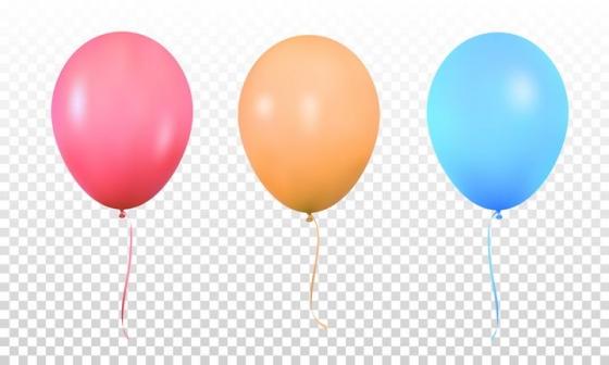 红色橙色和蓝色气球图片免抠素材