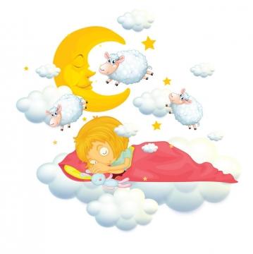 卡通女孩正在数绵羊睡觉图片免抠矢量图素材